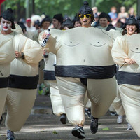 Adults Inflatable Sumo Suits Wrestler Costume Outfits Fat Man Airblown Sumo Run Cosplay Halloween