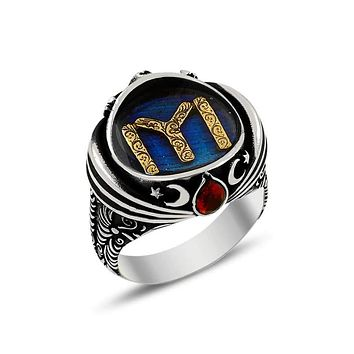 Sultan turban turkish monogram blue enamel silver mens ring