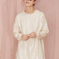 Nasty Gal Glisten Up Sequin Sweatshirt - Nude