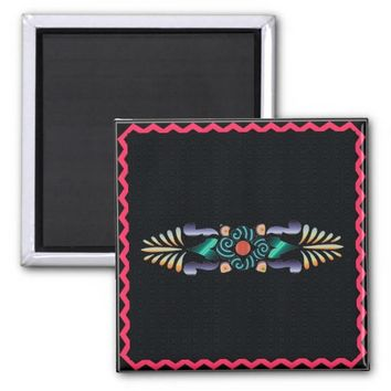 Floral 2 Inch Square Magnet