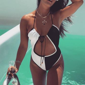 Sexy fashion women black white splicing halter one piece bikini swimsuit