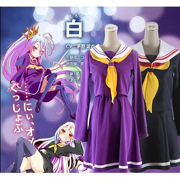 Purple, Blue Cosplay No Game No Life Shiro Emboitement Heroine Sailor Suit (top+ skirt+ Bow tie+ shoulder tape+ oversleeve+sock)