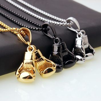 Men's Necklace & Stainless Steel Pendant Pair Boxing Gloves Chain Necklace Double fist sets titanium Sport Fitness Jewelry #GH30