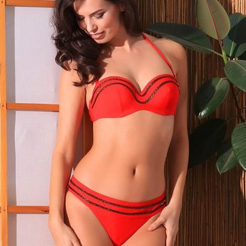 Jolidon Red w/ Gold Trim Underwire Push-Up Top & Cheeky Rear Bottom Swimwear Swimsuit