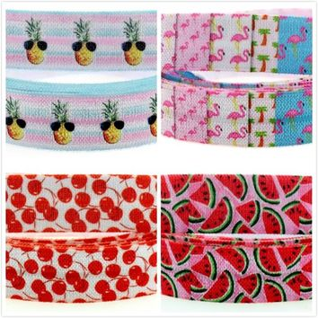 """ROLL / 5/8"""" Watermelon Pineapple Flamingo Printed Fold Over Elastic 50 Yards/Roll"""