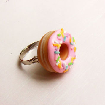 polymer clay pastel rainbow sprinkle strawberry doughnut donut ring