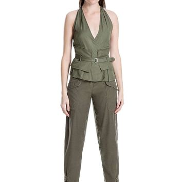 Belted Surplice Top Womens Utility Military Wrap