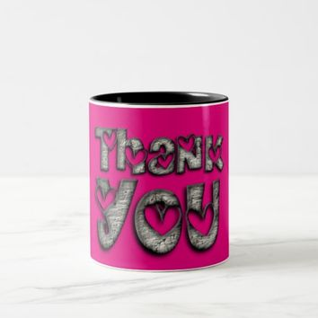 Thank You Hearts Funny Typography Pink Mug