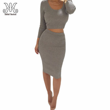 2 Piece Set Women Two Piece Outfits Long Sleeve Party Dresses Sexy Bandage Dress Black 2 Piece Dress Teiler Vestidos femininos
