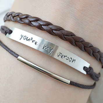 You're My Person Bracelet, Engraved Bracelet, Brown Cord Bracelet, Personalized Braided Bracelet, Friendship Bracelet, Grey's Anatomy Quote