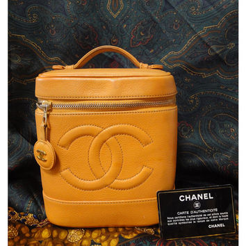Vintage CHANEL caviarskin lucky fortune color of yellow, cosmetic and party vanity purse. toiletries bag. Very party. Best gift