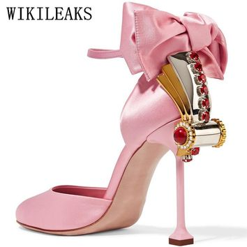 fetish high heels wedding shoes woman pumps luxury brand butterfly-knot rhinestone women high heels sexy valentine shoes black