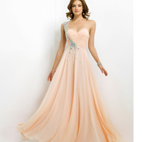 (PRE-ORDER) Blush 2014 Prom Dresses - Light Apricot Stone Beaded One Shoulder Strapless Sweetheart Prom Dress