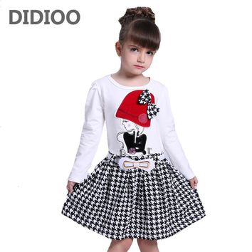 2017 Autumn Girls Dresses 3 4 5 6 7 8 9 10 Years Long Sleeve Plaid Dress For Girl Clothes Cotton Pattern Baby Children Clothing