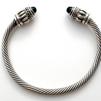 Sterling Silver Cable Cuff Bracelet with Black Onyx