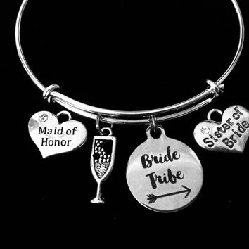 Sister of the Bride Maid Of Honor Jewelry Bride Tribe Expandable Charm Bracelet Bangle Silver Adjustable Wire Bangle Wedding Shower Bridal Trendy One Size Fits All Gift Champagne