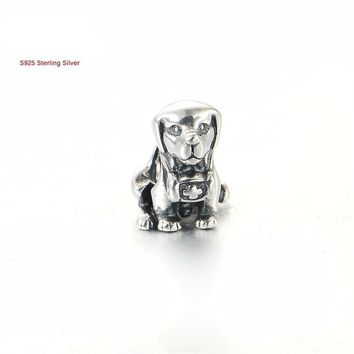 925 Sterling Silver Puppy Dog Charm Fits Pandora Bracelet or Necklace