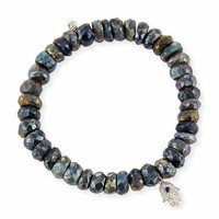 Sydney Evan 8mm Labradorite Beaded Bracelet with Diamond & Sapphire Hamsa Charm