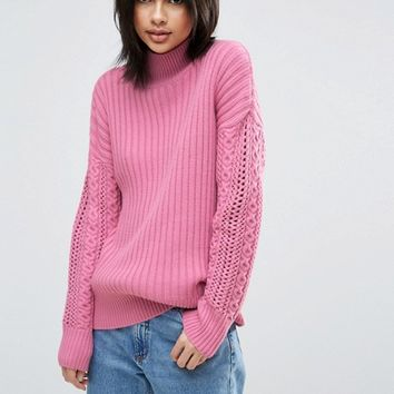 ASOS High Neck Sweater with Cable Sleeves at asos.com