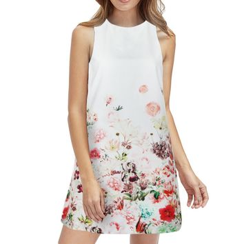 Floral Printed Sleeveless Boho Dress