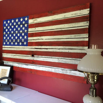 Pallet Flag. Reclaimed Wood American Flag Large