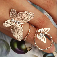Double Butterfly Finger Ring Fashion Jewelry For Women