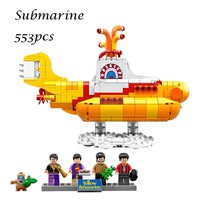21012 The beatles Yellow Submarine Drag Racer Car Building Blocks Bricks Model Kids Toys for children Compatible with lego 21306