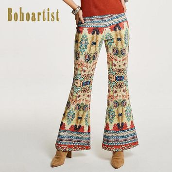 Women Pants Geometric Print Painted Pattern Bohemian Chic Flare Pants Ladies Folk Custom High Waist Slim Trousers
