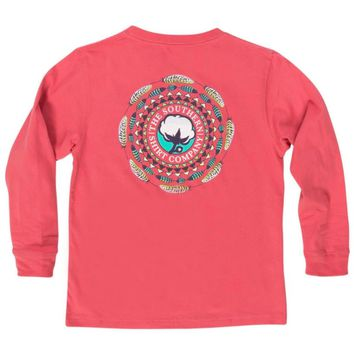 Southern Shirt Youth Paisley Logo Long Sleeve Tee - Rapture Rose