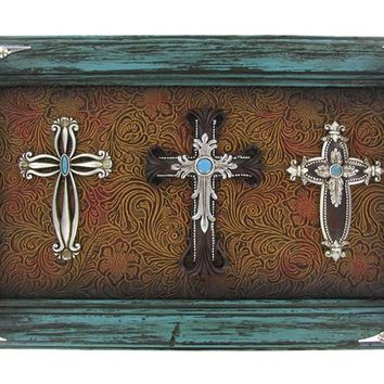 Teal Three Cross Plaque | Shop Hobby Lobby