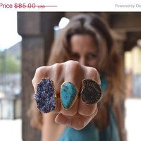 ON SALE LUX Divine Turquoise Stackable Gemstone 24kt Gold Adjustable Ring