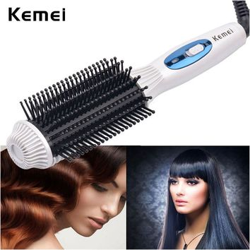 Fast Rotating Ceramic Curling Iron Brush Hair Straightener Comb Hair Curler Roller Hair Straightening Iron Brush StylingTool4245