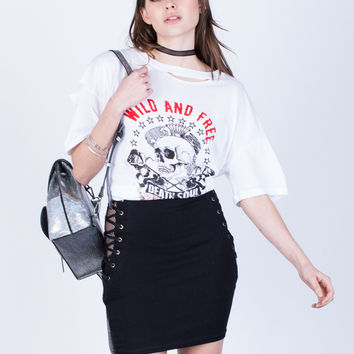 Mesh Lace-Up Skirt