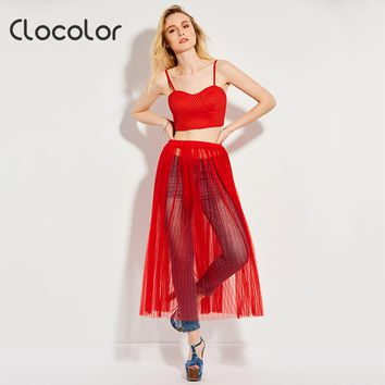Clocolor women sexy two pieces set Red Tank crop tops vest 2017 fashoion benach see through mesh high waist transparents skirts
