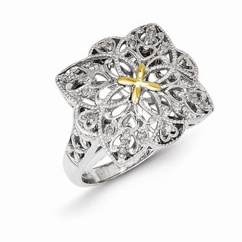 Sterling Silver Gold Diamond Vintage Ring