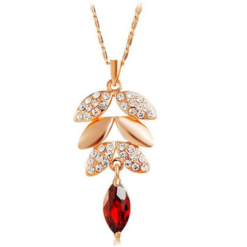 NEOGLORY Fashionable Crystal Decorated Leaf Pendant Alloy Necklace