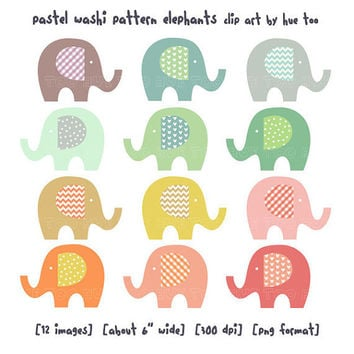 elephant clip art, baby elephant clipart, pastel washi tape pattern polka dot chevron gingham heart, cute images for invitations baby shower