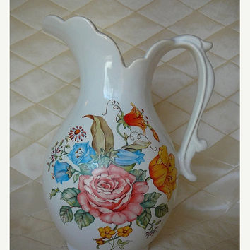 On Sale Floral, Porcelain Pitcher, Part Of Avons Basin And Pitcher Set, Stoneware Floral Pitcher, by Avon