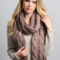 Ombre Cable Knit Scarf - Dusty Pink