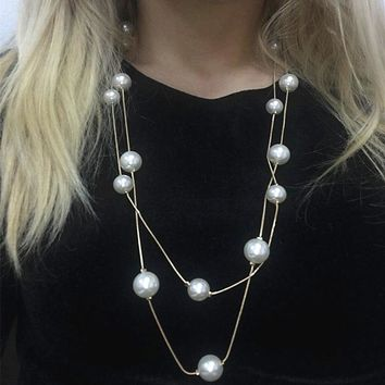 N826 Simulated Pearls Womens Jewellery Colliers Long Chain Necklace Bridal Jewelry Necklaces Female White Wedding Gifts Collares