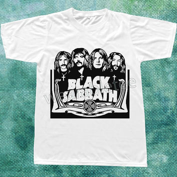Black Sabbath TShirts Heavy Metal Rock TShirts Music TShirts White Tee Shirts Unisex TShirts Women TShirts Men TShirts Black Sabbath Shirts
