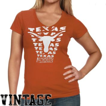 Texas Longhorns Ladies Vintage Vault V-Neck T-Shirt - Burnt Orange