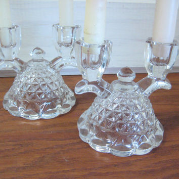 "Double Glass Candleholders, Lace Edged ""Katy"" Imperial Glass, Vintage Double Arm Candle Holders, Elegant Glass"