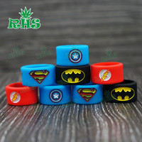 20pcs 18.5*12 mm SuperMan silicone rubber vape band anti-slip vapor rings ecigs and vapes accessories Laser Engraving Logo
