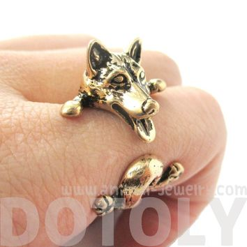 3D Siberian Husky Dog Shaped Animal Wrap Ring in Shiny Gold | Sizes 6 to 9