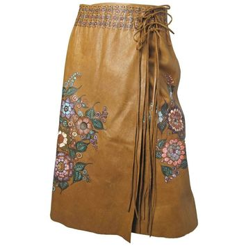 Char Leather Painted Skirt, Early 1970s