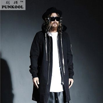 PUNKOOL British Warm Gothic Trench Men Pea Coat Hooded Long Black Trench Coat Mens Hood Punk Jackt Men Windbreaker Overcoat
