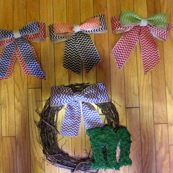 Year Round Moss Monogrammed Grapevine Wreath -Grapevine Wreath - Monogrammed - Chevron Burlap Bow - Moss Letter - Interchangeable Bows
