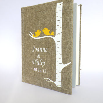 Wedding rustic photo album burlap Linen Bridal shower anniversary Yellow birds on white birch tree