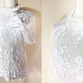 41f9673c1e44c White Lace Blouse  long sleeved top